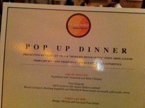 Pop Up Dinner Menu